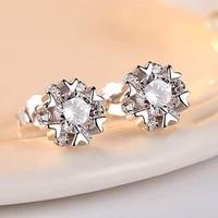 diwenfu genuine 925 sterling silver earring for women bohemia snowflake silver 925 jewelry gemstone garnet dainty stud earrings