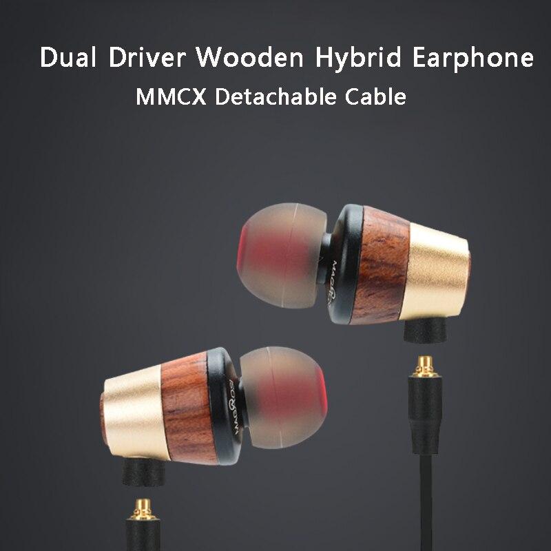 Híbrido de Madeira Fone de Ouvido Fones de Ouvido de Alta Madeira com Fio Magaosi Motorista Duplo In-ear Fidelidade Estéreo Mmcx Cabo Destacável