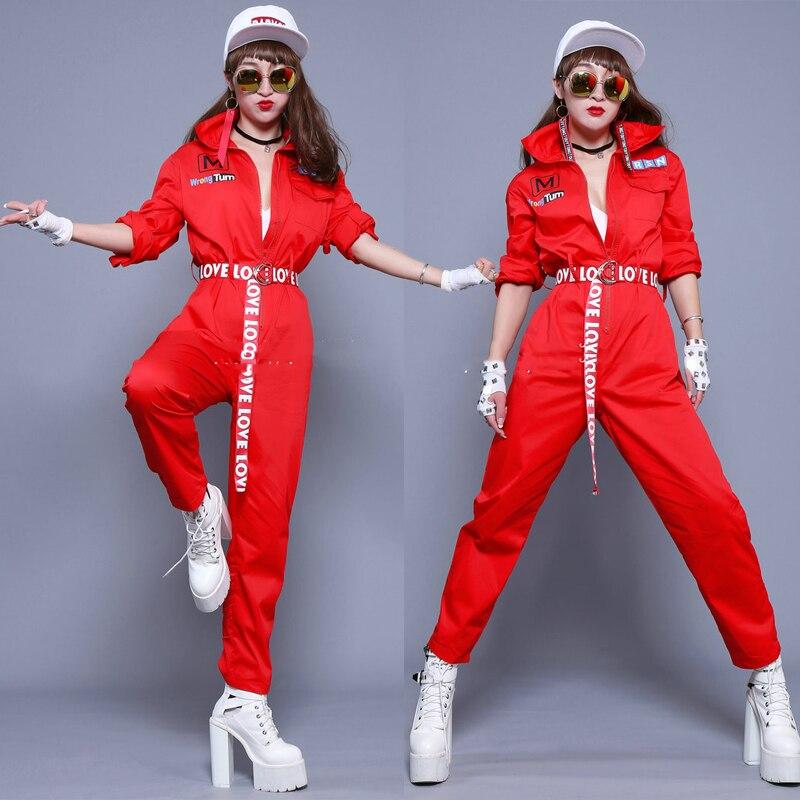 بذلة رقص الجاز الحمراء ، ملابس مثيرة ، ملهى ليلي ، مغنية ، شارع ، هيب هوب ، المشجع ، ملابس الأداء ، الزي المسرحي