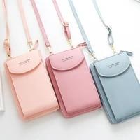 2021 new women purses solid color leather shoulder strap bag mobile phone bag card holders wallet handbag pockets for girls