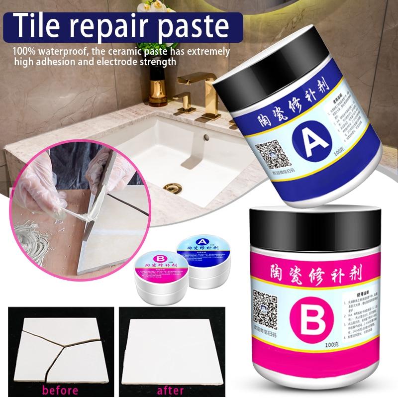 2 unids/set de cerámica de reparación de pasta de piso baño fregadero azulejo agente de reparación multipropósito FP8