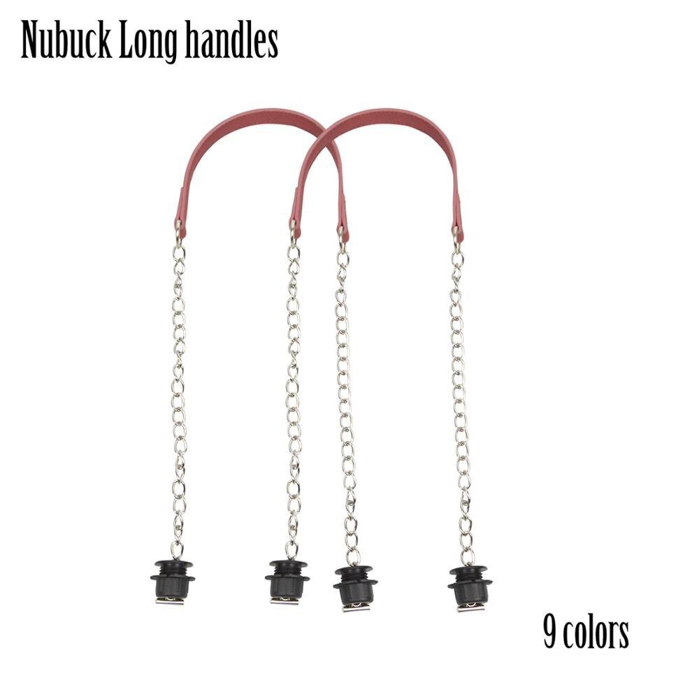 2019 nuevo 1 par Nubuck plateada plana larga y gruesa con hebilla OT tornillos negros para Obag O asas para bolso de mujer
