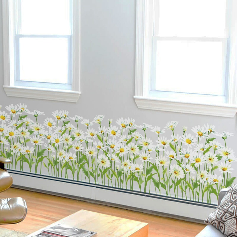 [SHIJUEHEZI] pegatinas de flores para base de césped DIY, adhesivo para pared de margaritas, para casa, sala de estar, accesorios de decoración de dormitorio