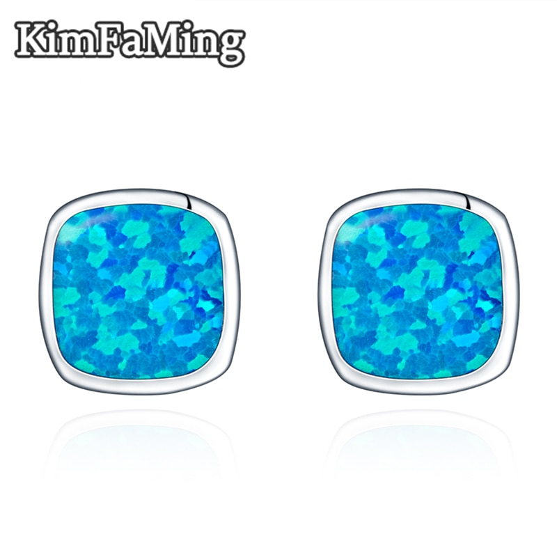 Trendy Cushion Shape Earrings for Men Opal Inlay 925 Sterling Silver Jewelry Casual Sporty OPE003