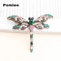 pomlee rhinestone large dragonfly brooches for women vintage coat brooch pin insect jewelry 2 colors available gift
