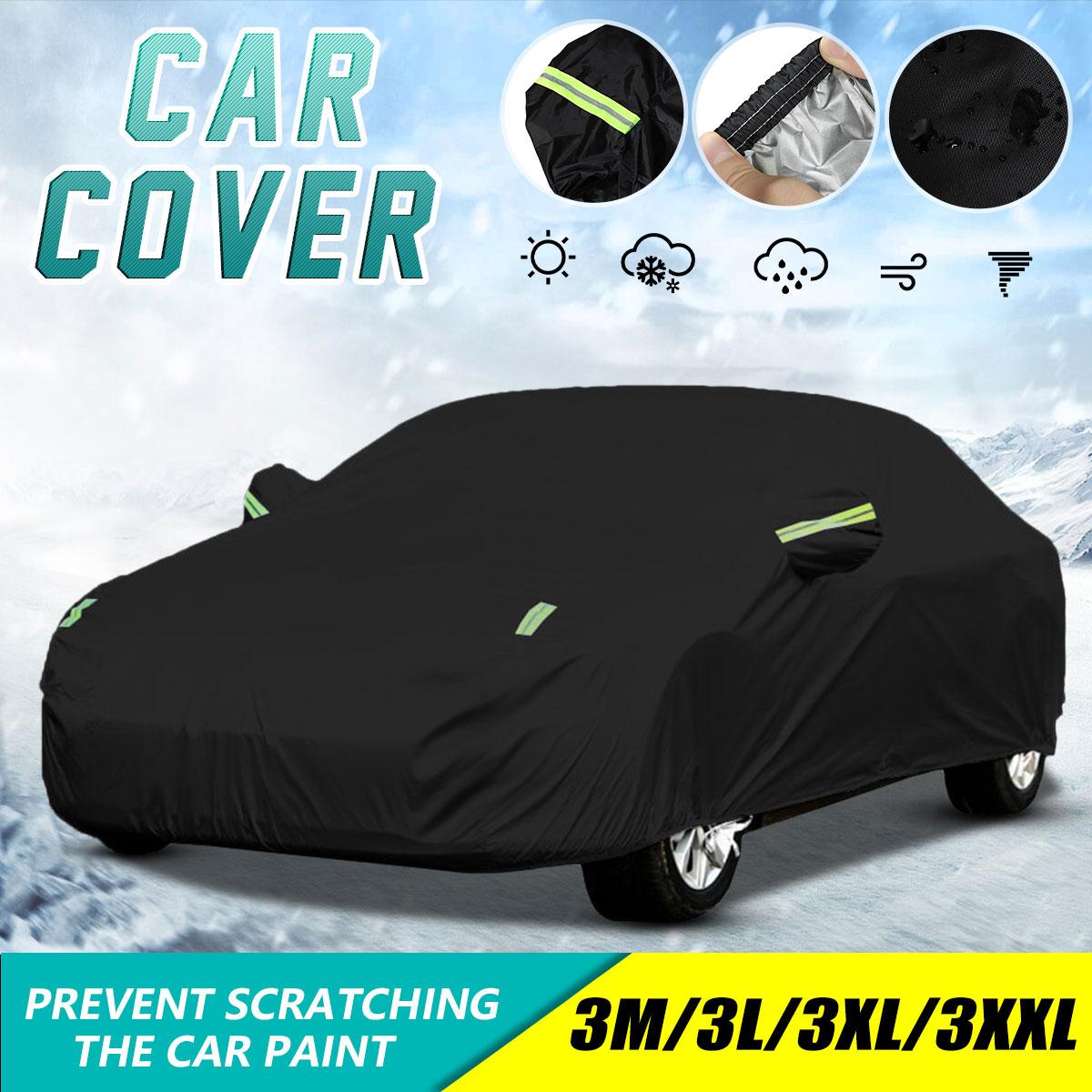 Universal Full Car Cover Black Outdoor Waterproof Snow Protect 190T Cover Anti UV Sun Shade Dustproo