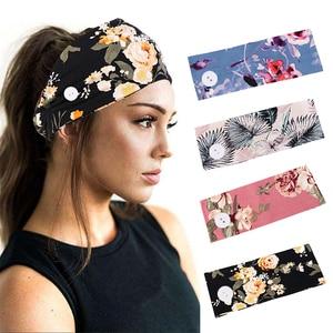 Women Floral Headband wide strtch Hairbands Cross Turban Button Hair Band Girls Bohemian Headbands Headwrap Hair Accessories