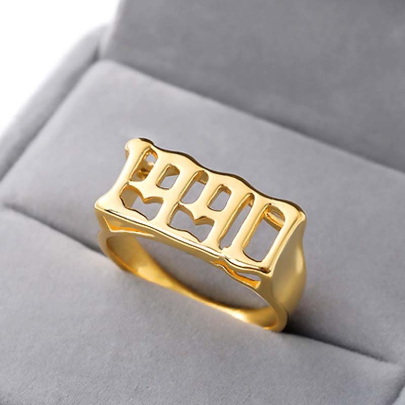 Anillos de números de año para hombre, figuras doradas de acero inoxidable,...