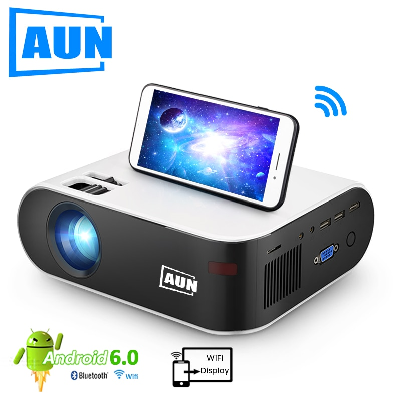 AUN MINI Projector W18, 2800 Lumens (Optional Android 6.0 wifi W18D), support Full HD 1080P LED Proj