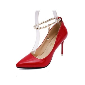 High-heeled Pointed Single Shoes Women New Fine-heeled Beaded Anklet Buckle Women Shoes High Heels Womens Shoes Wedding Shoes