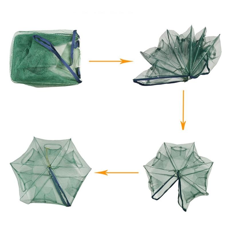 Reinforced 6-16 Hole Automatic Fishing Net Foldable Fish Cage Fish Net Crayfish Catcher Bait Fishing Cage Fishing Tool enlarge
