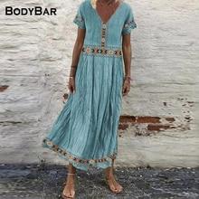 2021 Elegant V-neck Short-sleeved Dress Stitching Print Mid-length Ladies Dresses Loose Sexy Long Ro