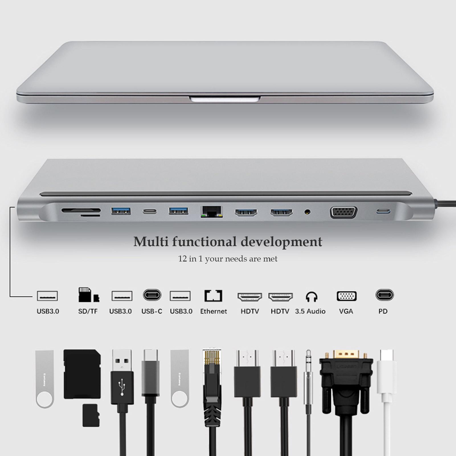 جديد 12 في 1 USB C محطة الإرساء المزدوجة HDMI RJ45 VGA محول متعدد المنافذ دونغل لأجهزة الكمبيوتر المحمول ماك بوك ديل XPS Hp ثينك باد