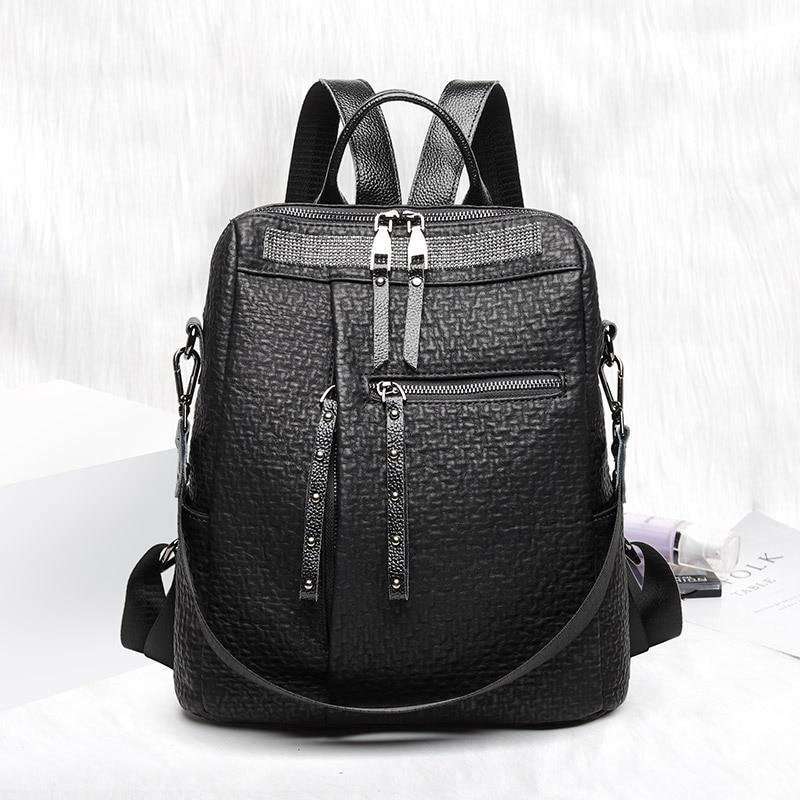 المرأة لينة حقيبة ظهر مصنوعة من الجلد خمر حقائب كتف الإناث السفر عادية مكافحة سرقة على ظهره السيدات على ظهره Mochilas الحقائب المدرسية