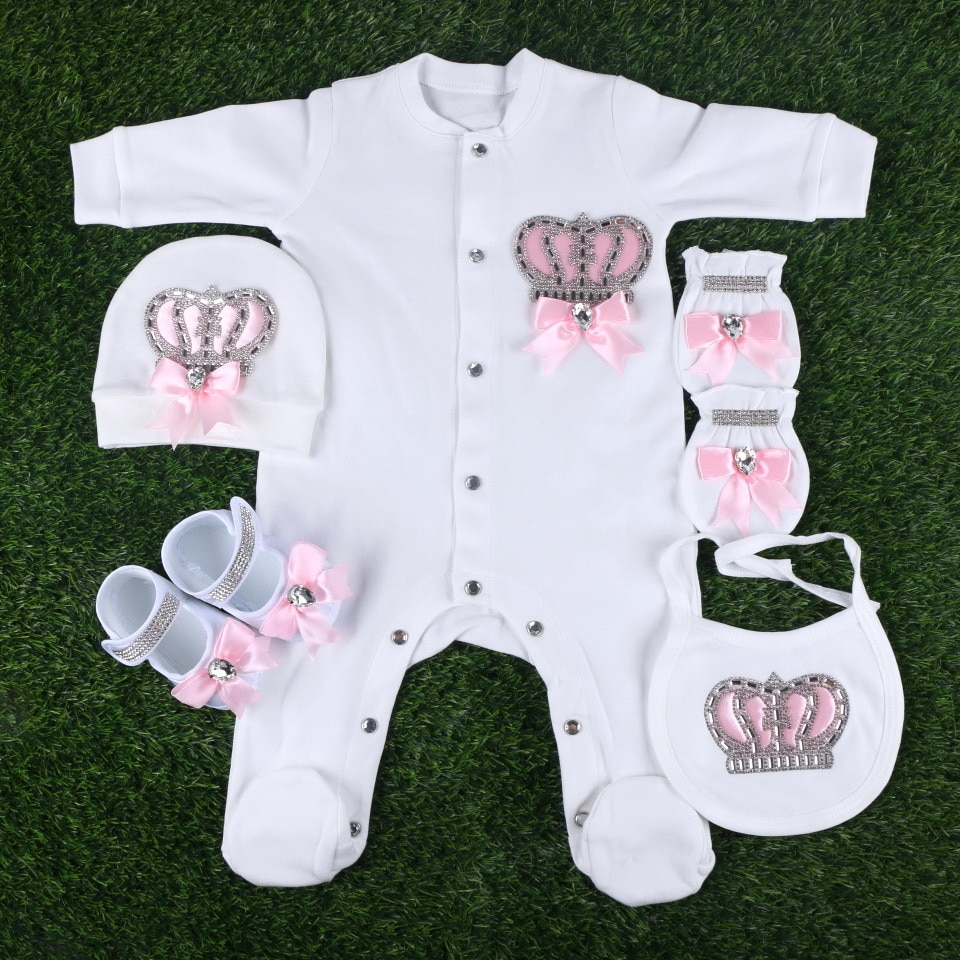 good quality new design 0-3 months baby newborn boy girl rompers gift set 56 cm length footies clothes with crown brand