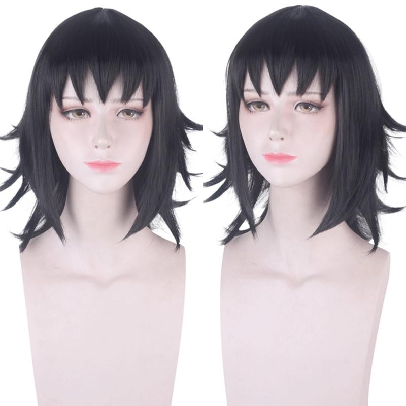 Anime Demon Slayer Kimetsu no Yaiba Makomo Black Wig Cosplay Costume Women Heat Resistant Synthetic Hair Halloween Party Wigs