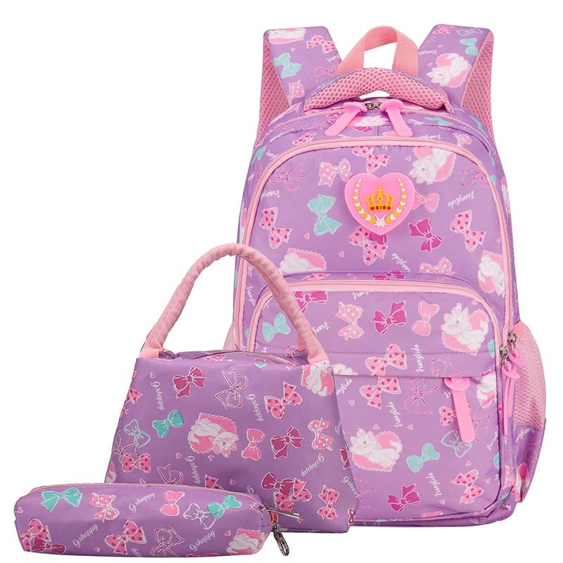 3Pcs Per Set Lovely Girl School Backpack Bow Print Nylon Waterproof Shoulder Bags For Women Large Ca