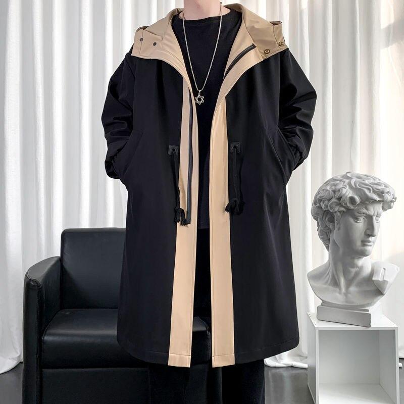 Мужская одежда, куртки и пальто, одежда на осень и зиму, Мужская ветровка, длинное пальто, Мужская школьная одежда средней длины