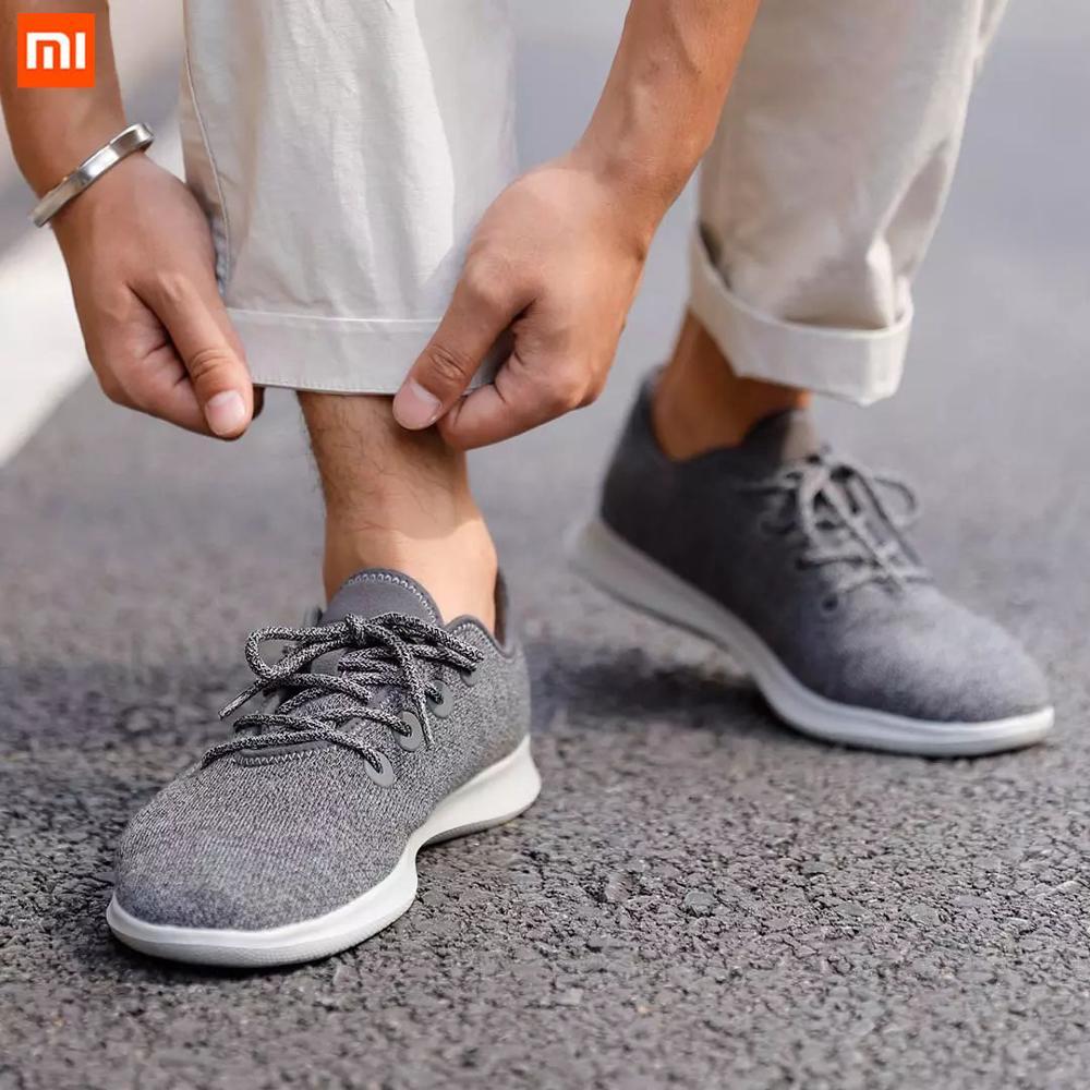 Xiaomi Aishoes, zapatos informales para hombre, zapatillas con suela de doble cara antideslizante y ultrafina de lana tejida, calzado para hombre, calzado para correr al aire libre