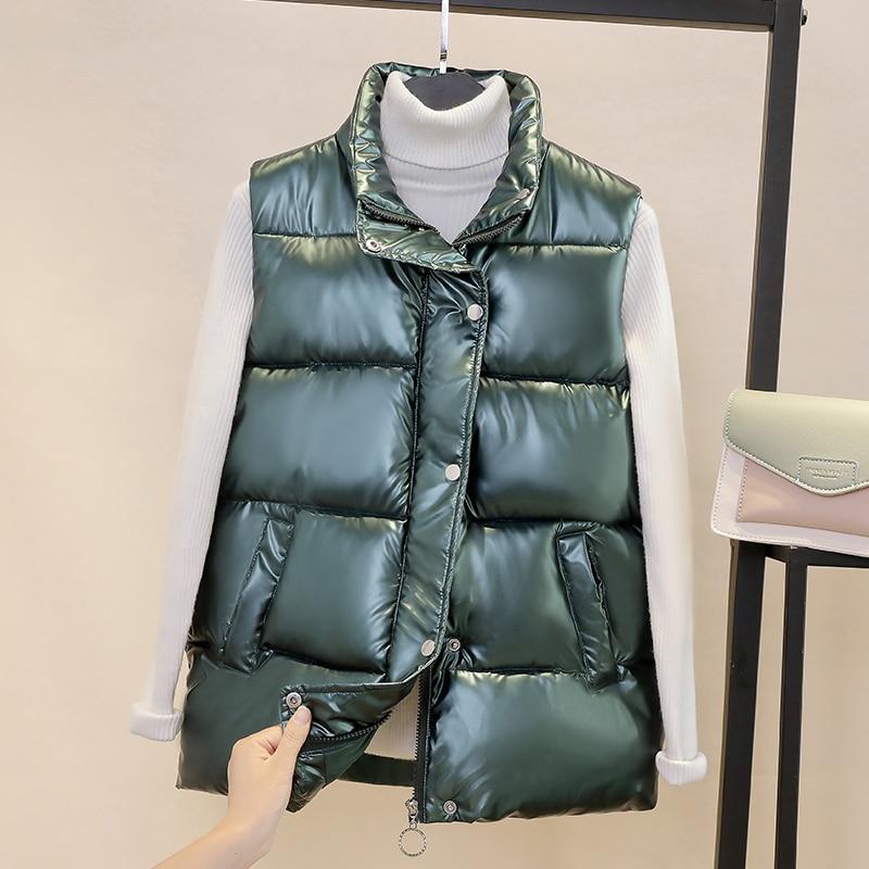 Chaleco de otoño e invierno 2020 nuevo chaleco corto de algodón para mujeres chaleco casual de pie chaleco caliente brillante
