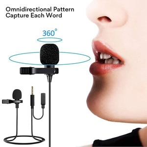 Lavalier Microphone 1.5m Mini Portable Clip-on Lapel Mic with Omnidirectional Condenser for Podcast, Recording, DSLR,Camera, PC