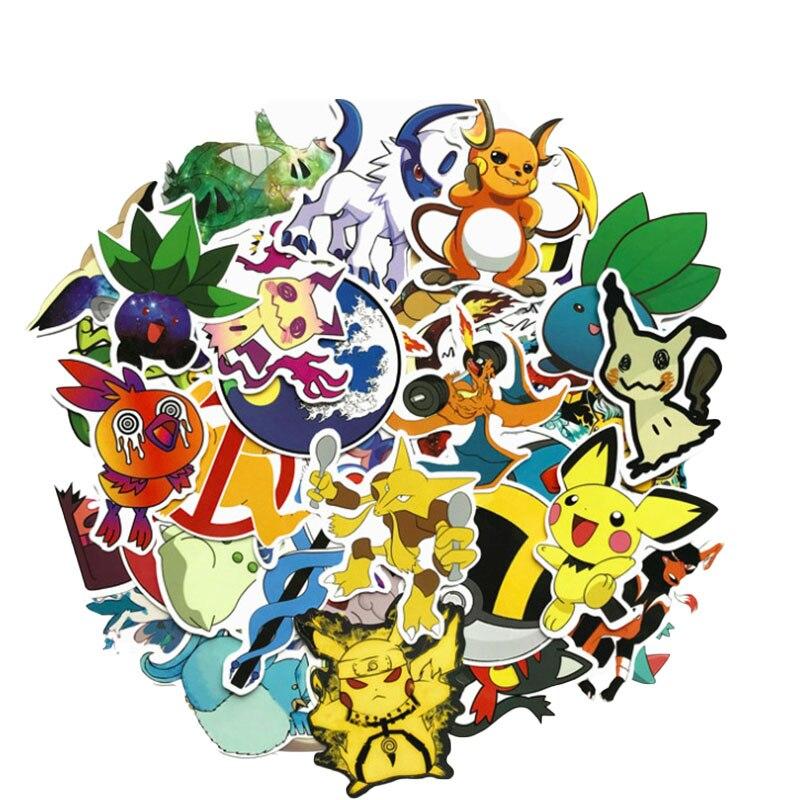 Juguetes clásicos de 45/Uds. De PVC, pegatina de Pokémon resistente al agua, pegatina para maleta portátil, juguete para niños, regalo