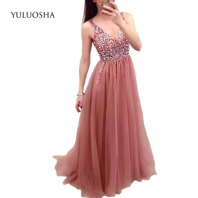 YULUOSHA Evening Dresses Long Sleeveless Sequined Appliques V-Neck A-Line Lace Formal Dress Women Elegant Vestidos De Fiesta