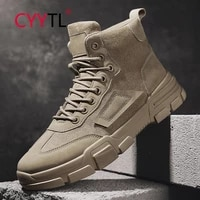 cyytl mens leather fashion winter boots ankle casual hiking tooling waterproof military male work shoes outdoor walking botines