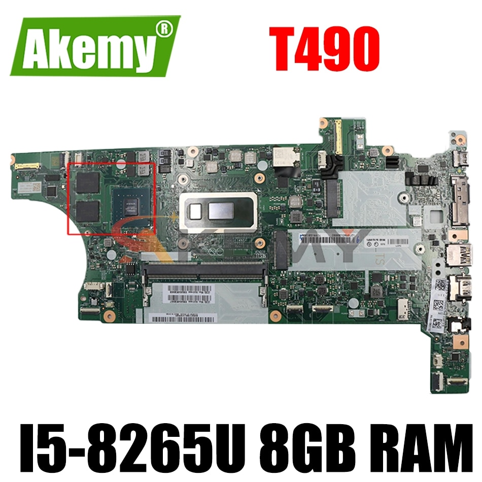 لينوفو T490 اللوحة الأم للكمبيوتر المحمول FT490 FT492 FT590 FT531 NM-B901 اللوحة الرئيسية مع i5-8265U 8GB RAM + GPU 100% اختبارها بالكامل