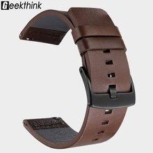 20 Mm 22 Mm Lederen Horloge Band Strap Voor Samsung Galaxy Horloge Active2 42 46 Mm Gear S3 Horlogeband Quick release 18 Mm 24 Mm