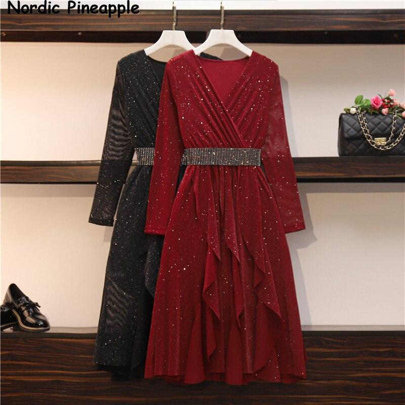 Plus tamanho vestido de outono feminino novo irregular fino v-neck mid-length saia gordura beleza emagrecimento derss preto um vermelho