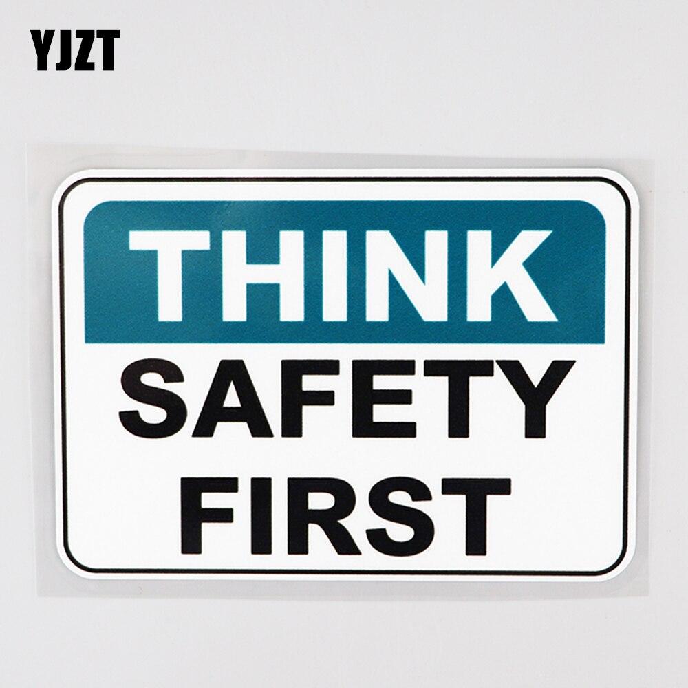 YJZT 14.3CM×10.3CM  Safety First Work Carefully PVC Car Sticker Decal12C-0626