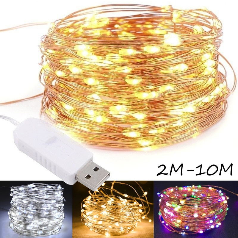 100 led string lights 10m 5m 1m usb waterproof copper silver wire garland fairy lights for christmas decoration wedding party DC 5V USB LED String Lights 10M 5M 2M 3M Copper wire Waterproof Fairy Light Garland For Home Christmas Wedding Party Decoration