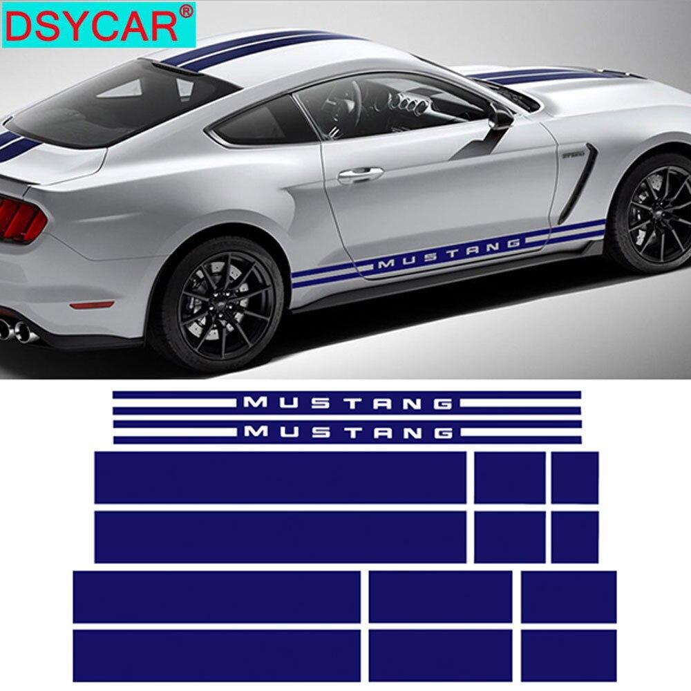 DSYCAR 1Set Mode Auto Haube Dach Hinten Rock Racing Streifen Körper Kit Aufkleber Auto Aufkleber für Ford Mustang 2015-2017 neue