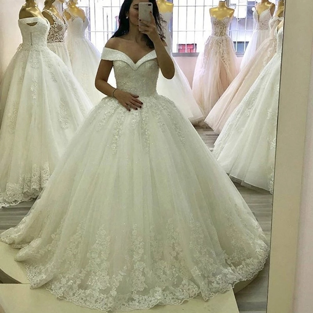 Get WUZHIYI White Luxury Princess Ball Gown Wedding Dresses 2022 Crystals Beaded Appliques Off Shoulder Bride Marriage Bridal Gowns
