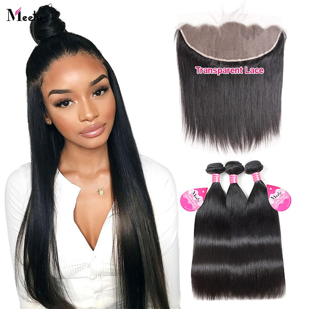 Meetu Straight Bundles with Frontal HD Lace Frontal and Bundles Malaysian Bone Straight Human Hair Bundles with Frontal Closure