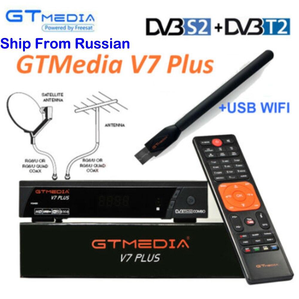 100% Original 2019, recién llegado, GTMEDIA V7 PLUS, combinado de TV por satélite de DVB-T2 DVB-S2, recibidor compatible con H.265, compatible con Europa Cline