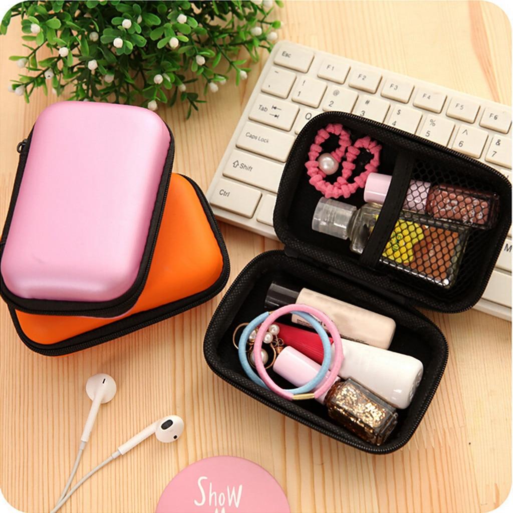 Caja de almacenamiento funda para casco organizador de armario bolsa Mini cremallera de cuero duro auricular bolsa de almacenamiento bolsa de auriculares caja #15