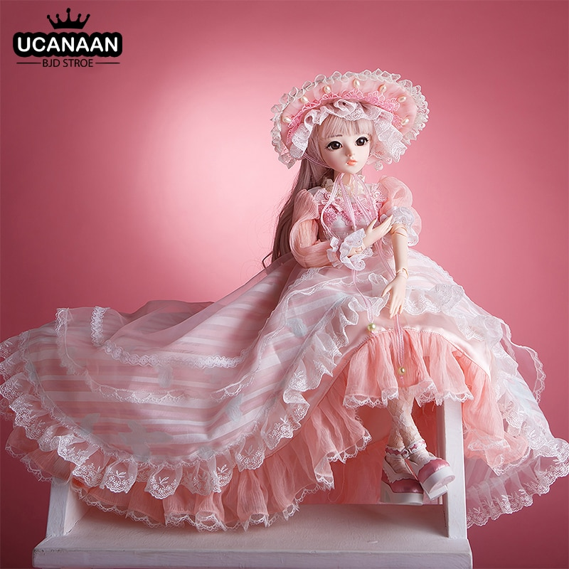 UCanaan BJD Doll 60CM 1/3 Ball Joints Dolls 12 Styles With Full Outfits Dress Wig Shoes Makeup Gift For Girls Collection Toys