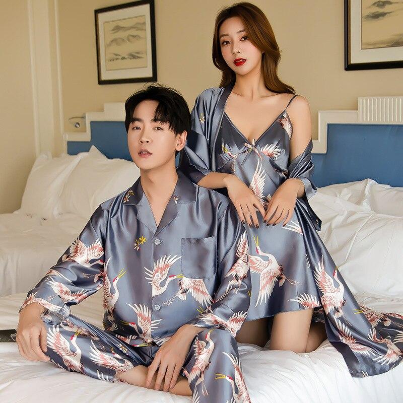 Пикантные комплекты летней шелковой пижамы 2021, модные мужские пижамы для влюбленных, женский длинный халат с длинным рукавом, домашний комп...