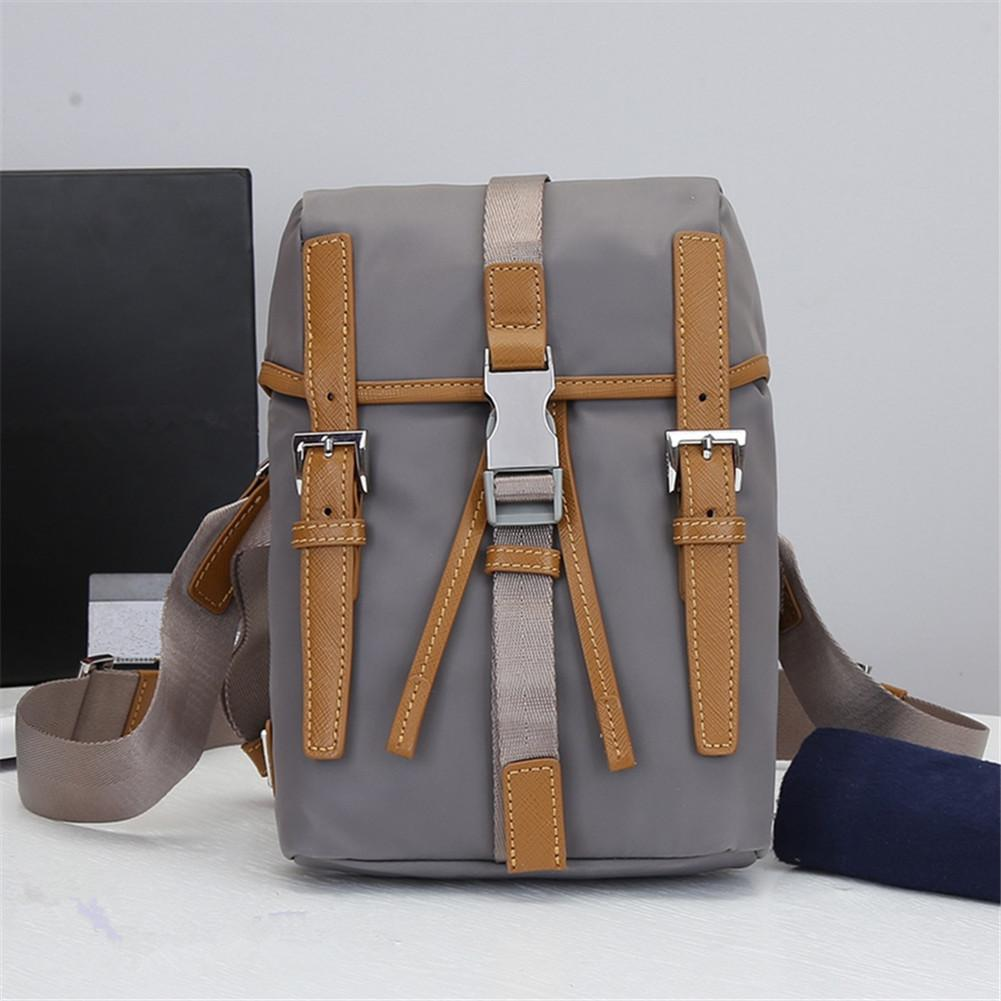 Unisex gray nylon leather canvas waist bag backpack dual-use sports fitness running multifunctional waterproof portable fashion