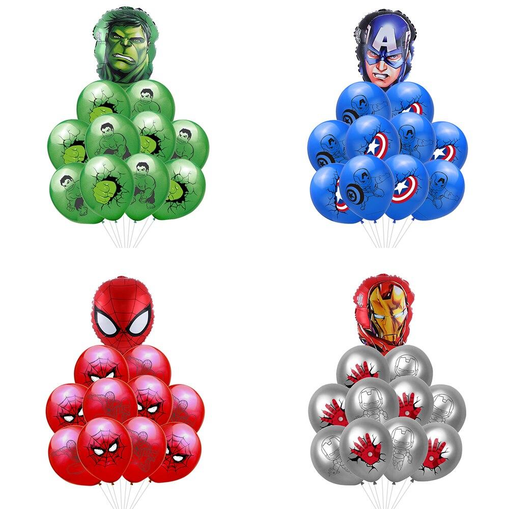 11 unids/lote Spiderman Hulk Capitán América Iron Man látex Globos de superhéroe Globos de helio Globos de cumpleaños decoraciones de fiesta Juguetes