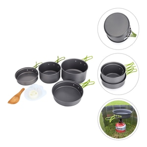 1 Set Outdoor Cooker Kit Camping Tableware Portable Saucepans Frying Pans Set