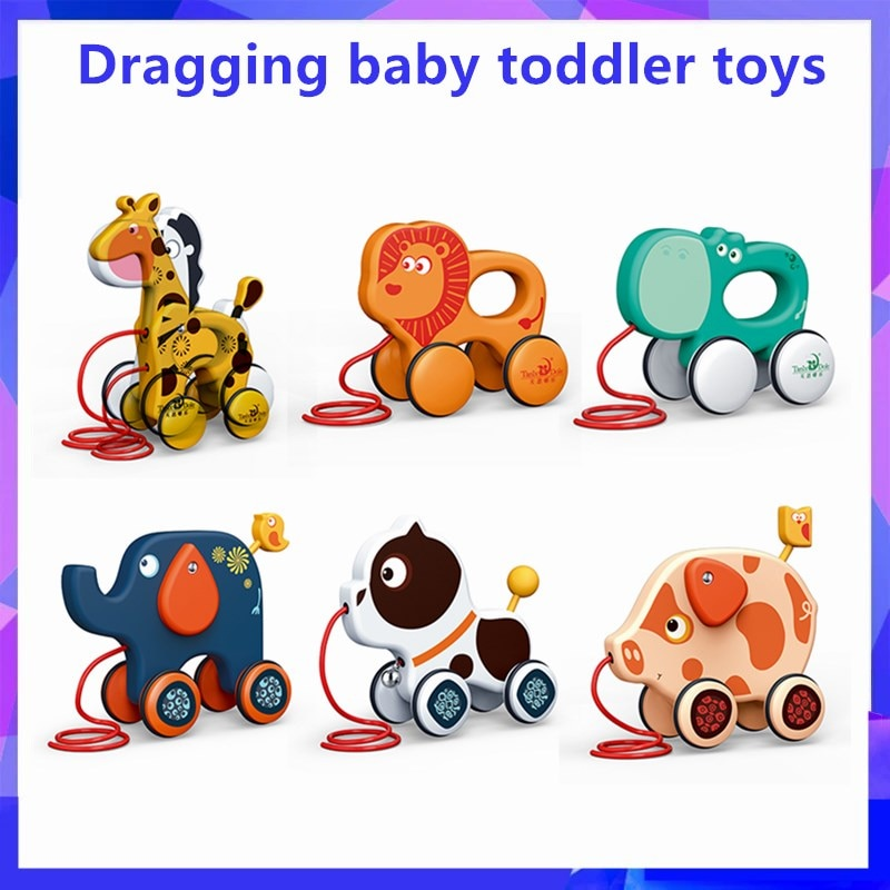 Drag Cartoon Baby Drag Toddler Toy Car Pull Animal Puppies Giraffe Baby Early Teaching Walker Funny Toys Educational Toys
