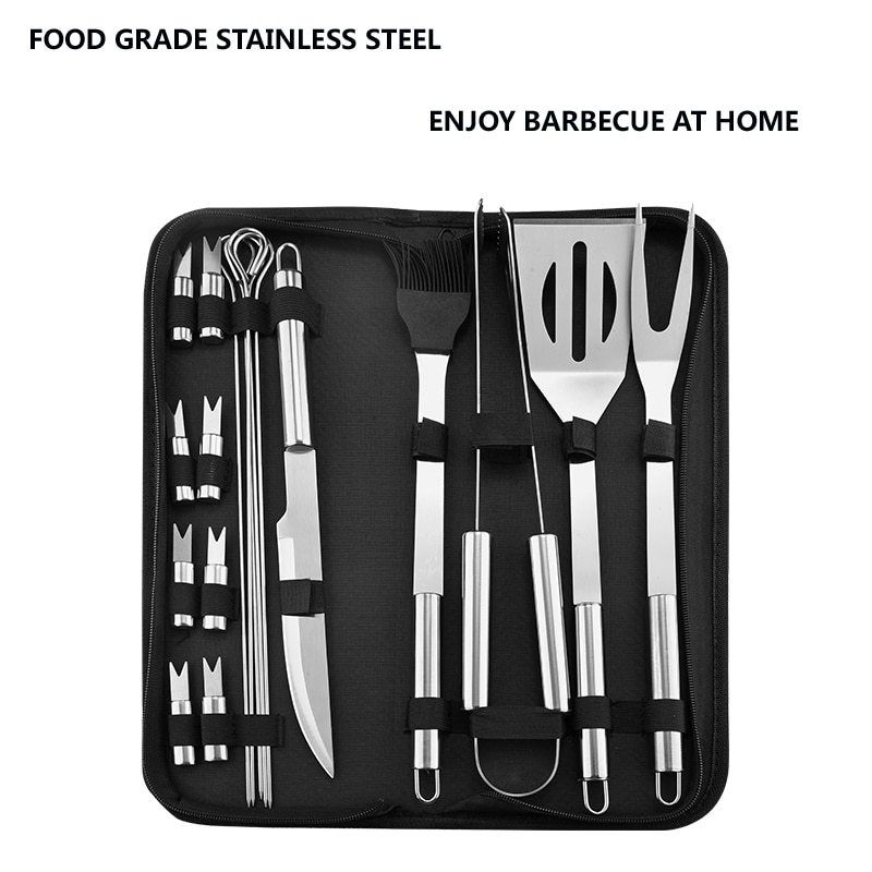 Stainless Steel BBQ Tools Set spatula fork tongs knife brush skewers Barbecue Grilling Utensil Camping Outdoor Cooking Tool Set