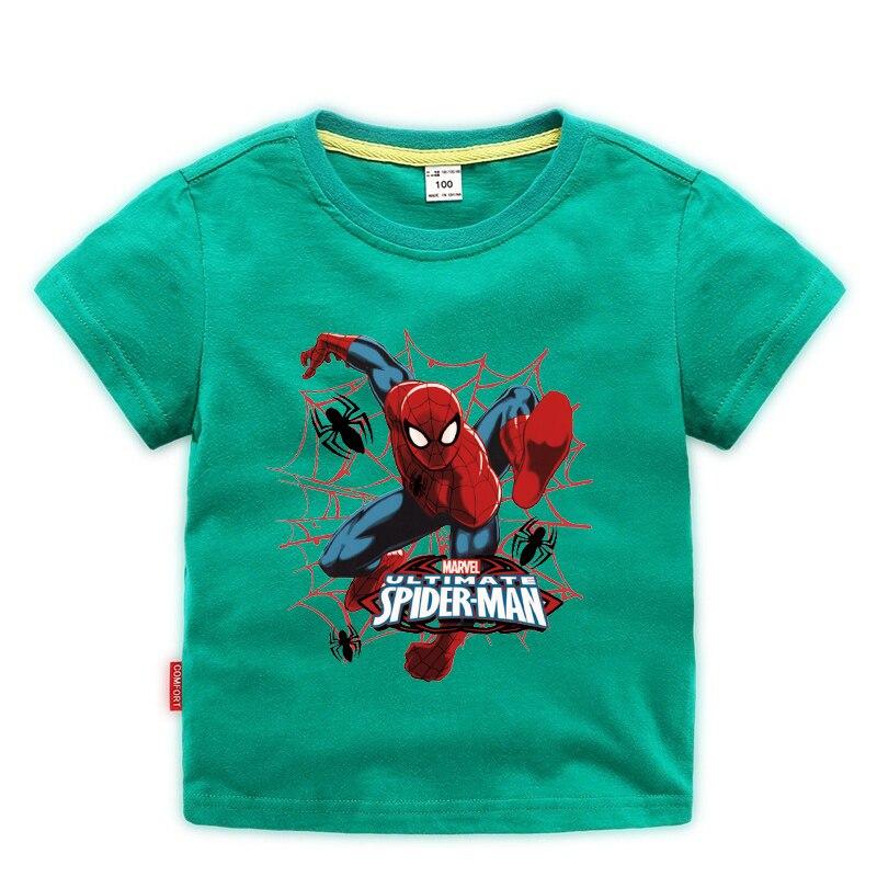 Camiseta de verano de Spiderman para niños, Camiseta deportiva de manga corta de Spiderman para niños, ropa de bebé para niños de 2 a 10 años