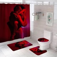 bathroom decor waterproof shower curtain set toilet seat cover non slip bath mat rug carpet polyester fabric washable