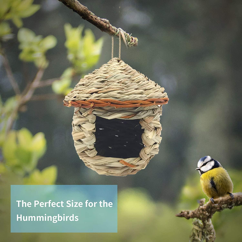 Casa de colibrí, casitas tejidas a mano para pájaros, casa para pájaros, para colgar al aire libre, casitas de pájaros naturales para Audubon, Pinzón, canario, Chickadee