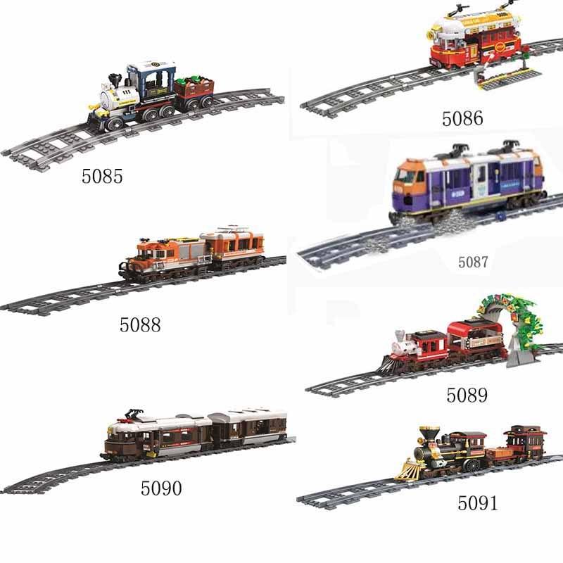 Swiss Classic City Train Rail Building Blocks Passenger Steam for Mailack Urban Train Car Figures Model Building Bricks Toy Gift