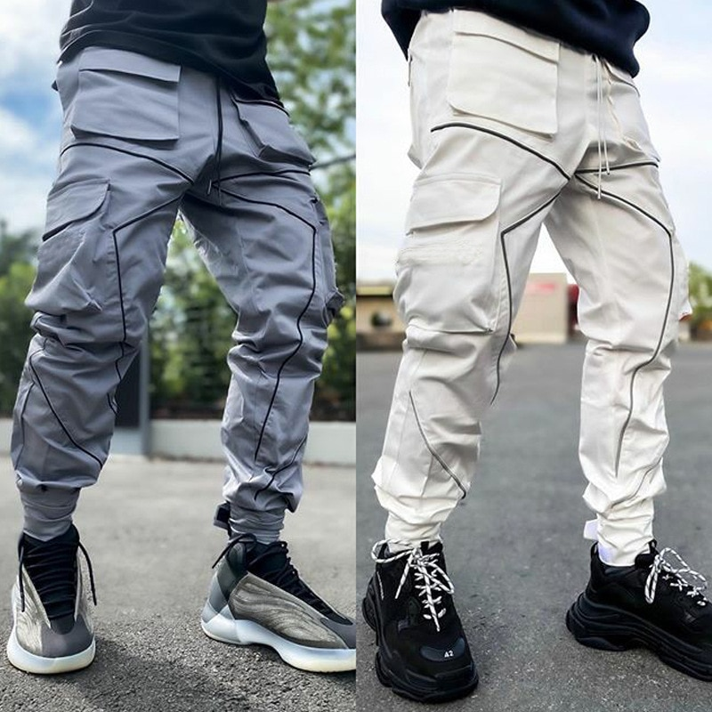 2021 Spring Autumn And Winter Fitness Pants New Reflective Strips Closing Feet Running Sports Leisur